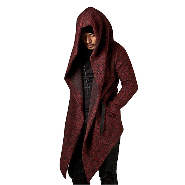 Helisopus Men Gothic Black Trench Punk Outerwear Cloak 2019 Spring Autumn Men Hooded Irregular Jacket Wool Coat Plus EURO size