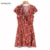 SheMujerSky Women Red Dress Ruffles V Neck Bandage Mini Dresses Wrap Dress Ladies Fashion Vestidos De