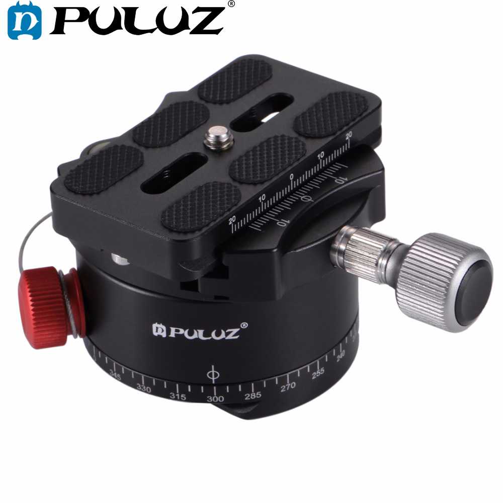 PULUZ Aluminum Alloy Panoramic Indexing Rotator Ball Head with Quick Release Plate for Camera Tripod Head aluminum gimbal swivel tripod ball head ball head with quick release plate 1 4 screw 36mm large sphere panoramic photos
