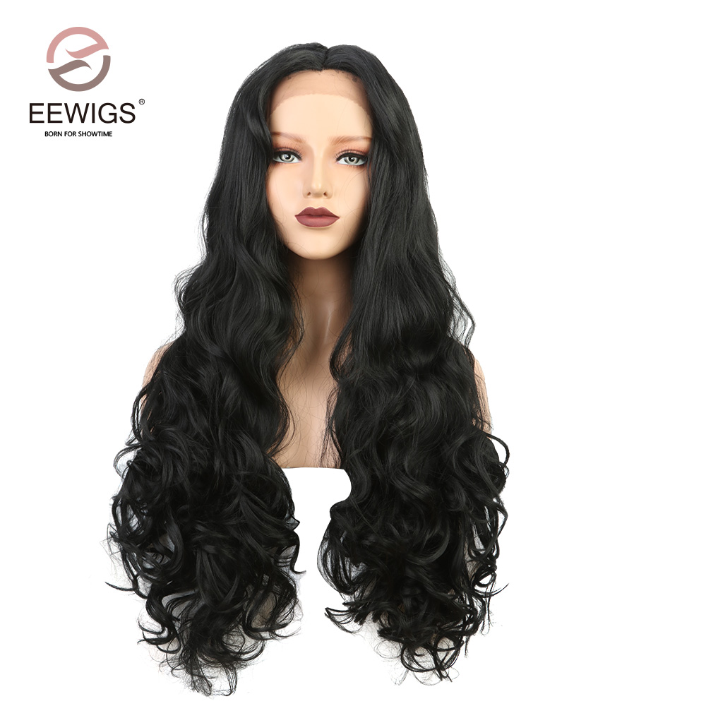 Black Long Natural Body Wave Synthetic Lace Front Wig Middle Part Heat Resistant Fiber For Women Black Heavy Density 28inch