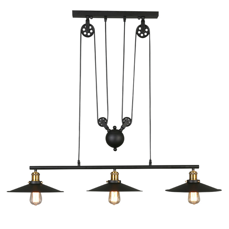 Vintage Industrial Retro Black Metal Pendant Light Lamp 3 Lights Adjustable Pulley Lighting Fixtures For Bar Cafe Kitchen PL630