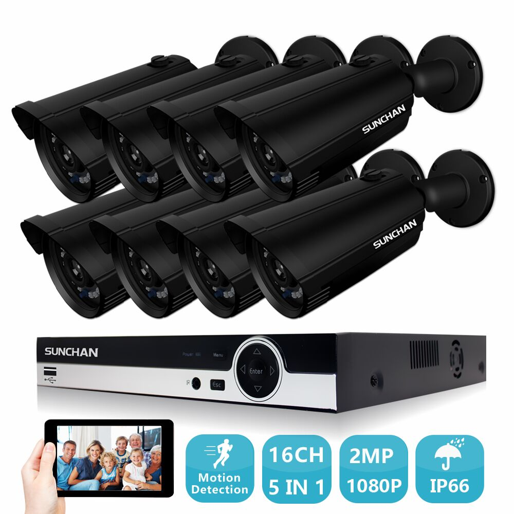 SUNCHAN 16CH AHD 1080P DVR Security Camera System Home CCTV 2.0MP Video DVR Kit 8 1080P Outdoor CCTV System Kit