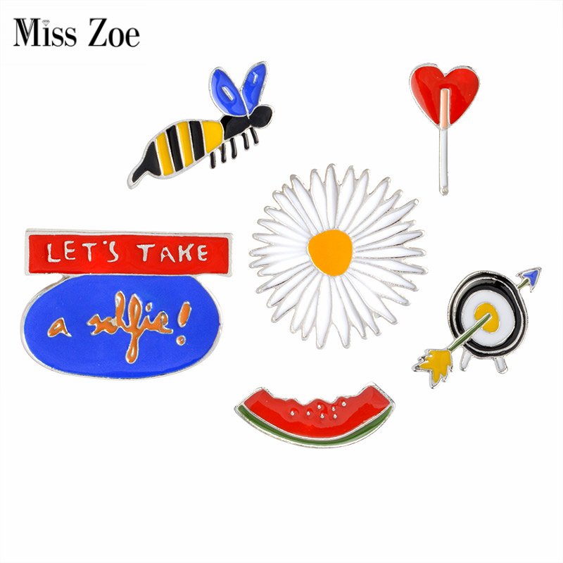 Miss Zoe LETS TAKE a selfie Watermelon Bee Daisy Target Brooch Button Pins Denim Jacket Pin Badge Cartoon Fashion Jewelry Gift