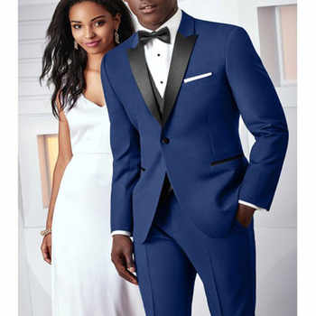 Blue black lapel dress men's wedding slim ball suit custom men's wedding tuxedo party business suit two pieces (jacket + pants) - DISCOUNT ITEM  0% OFF All Category