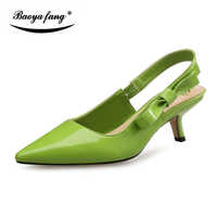 BaoYaFang Patent Leather Pointed toe Womens Summer sandals Fashion party dress shoes Green color Thin heel ladies shoes female
