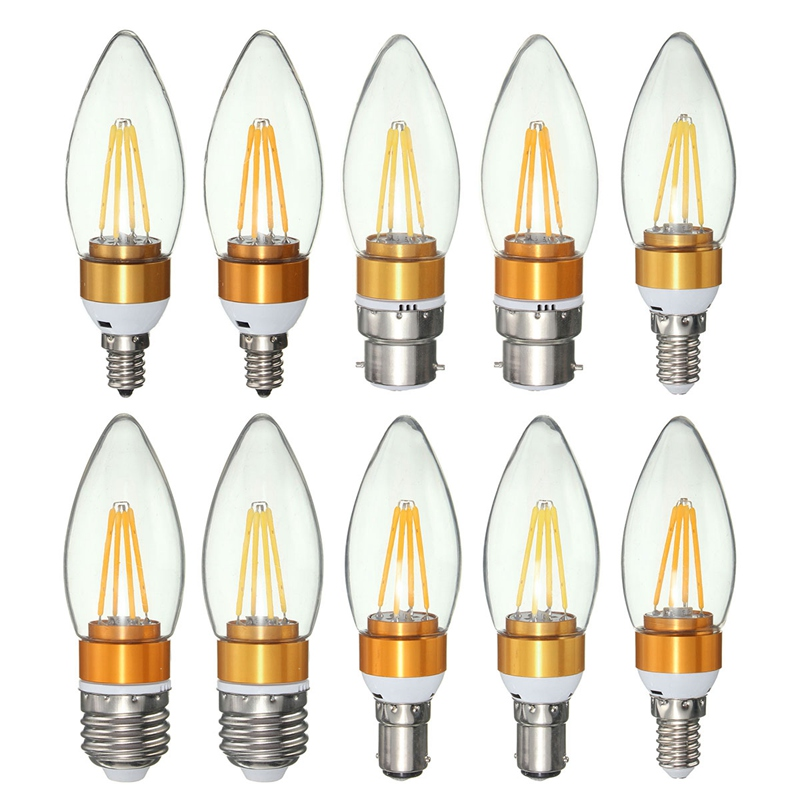 4 LED Lamp Bulb E27/E14/E12/B22/B15 4W Filament Candle Vintage Retro LED Light Bulb 220V Edison Bulb Warm Pure White hdx lzd 603b e14 4w 12lm 3500k warm white light 32 led candle light bulb golden