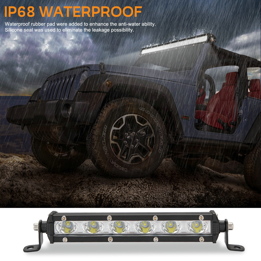 Image 2 - Luces Led Para Auto Single Row Slim LED Straight Light Bar 8 Inch 18W 6LED Jeep UTV 4x4 Boat Truck LED Lamps For Cars-in Light Bar/Work Light from Automobiles & Motorcycles