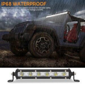 Image 2 - Luces Led Para Auto simple rangée mince LED barre lumineuse droite 8 pouces 18W 6LED Jeep UTV 4x4 bateau camion lampes LED pour les voitures
