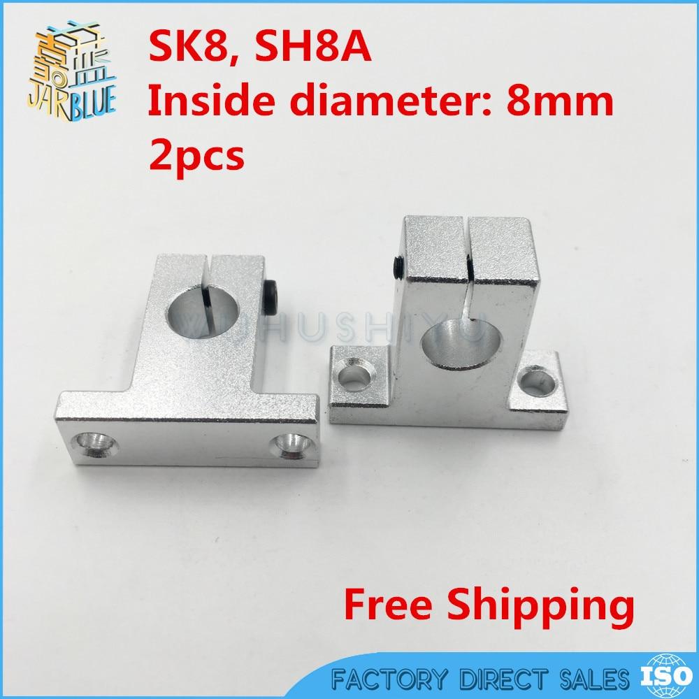 Hot Sale! 2 pcs/lot SK8 SH8A 8mm linear shaft support 8mm Linear Rail Shaft Support XYZ Table CNC parts цена 2017