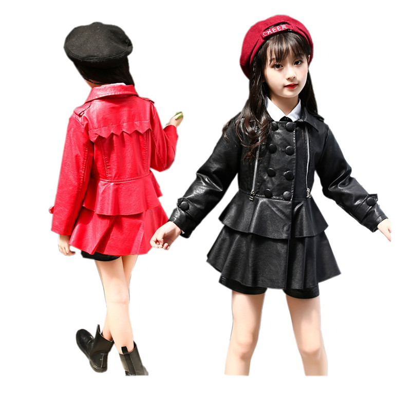 causal girl leather jacket cool solid lady style jacket leather for 3-10years girls kids children cool outerwear jacket coatcausal girl leather jacket cool solid lady style jacket leather for 3-10years girls kids children cool outerwear jacket coat