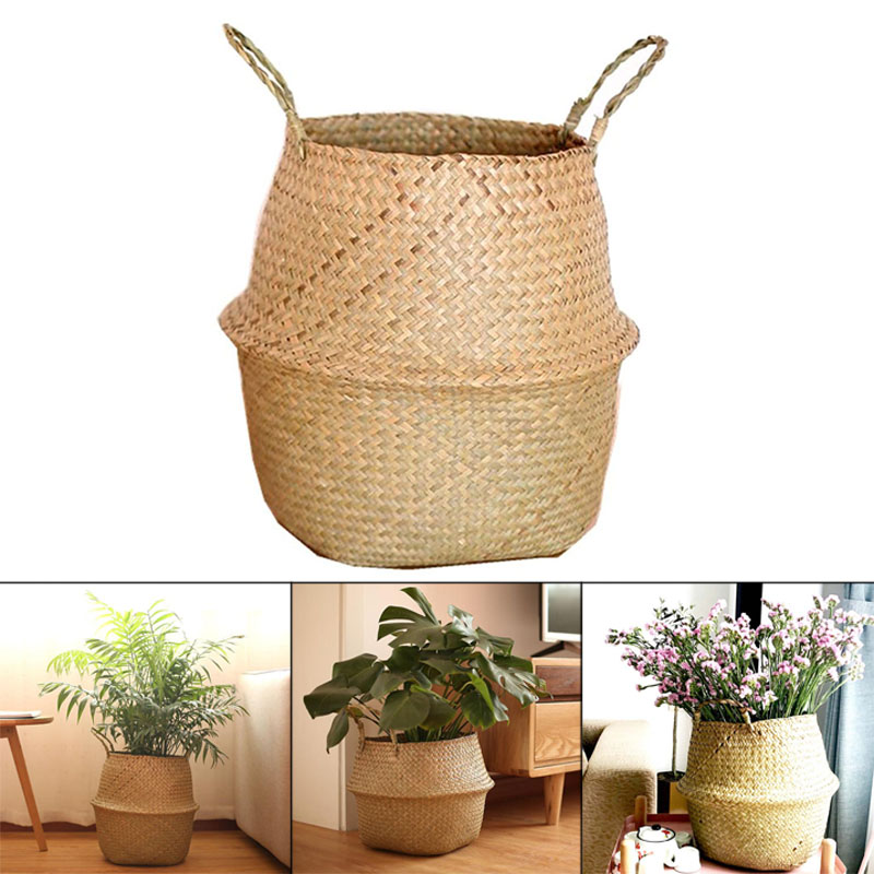 Hot Beautiful Creative Seagrass Wickerwork Basket Rattan Hanging Flower Pot Dirty Laundry Hamper Storage Basket XH8Z NO02