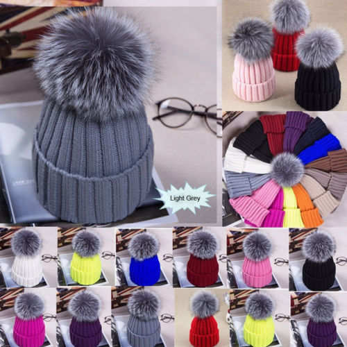 Large Ball Womens Hat Winter Fox 15cm Fur Pom Pom Knit   Beanie   Ski Cap Bobble