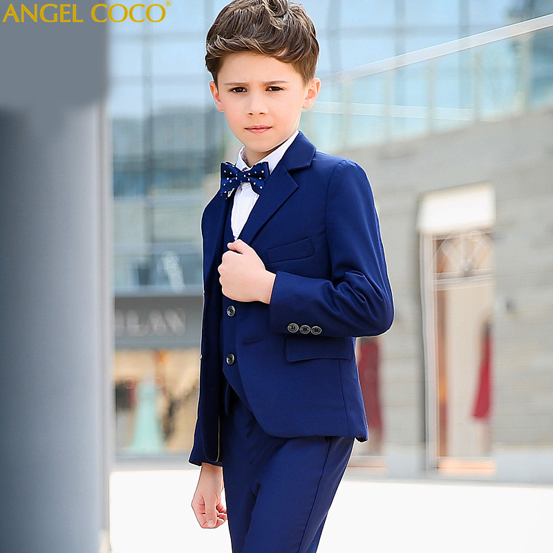 Boys suits for weddings Kids Prom Suits Blue Wedding Suits Kids tuexdo Big Children Clothing Set Boy Formal Classic Costume 2018