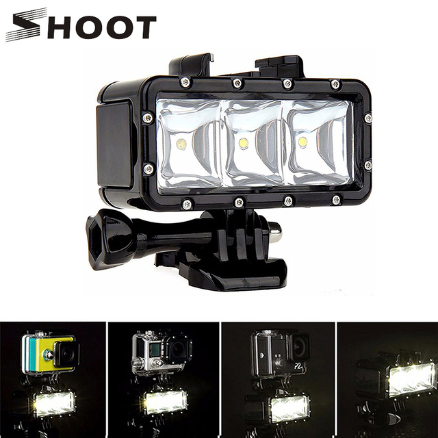 SHOOT 30M Underwater Waterproof LED Lamp Diving Fill Light for GoPro Hero 8 7 5 Black Xiaoyi 4K Sjcam Eken Video Flash Lighting