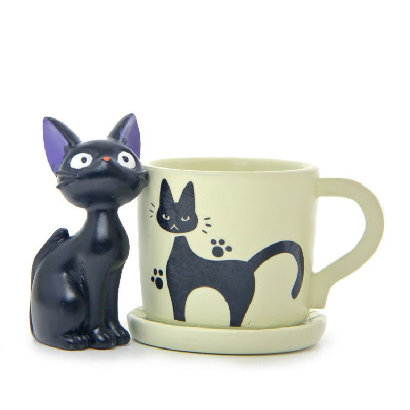 Miyazaki Kiki's Delivery Service Small Cute Cup Kiki Cat Flower Pot Action Figures Collection Model Toy for Garden Home Decor детская футболка классическая унисекс printio бразилия