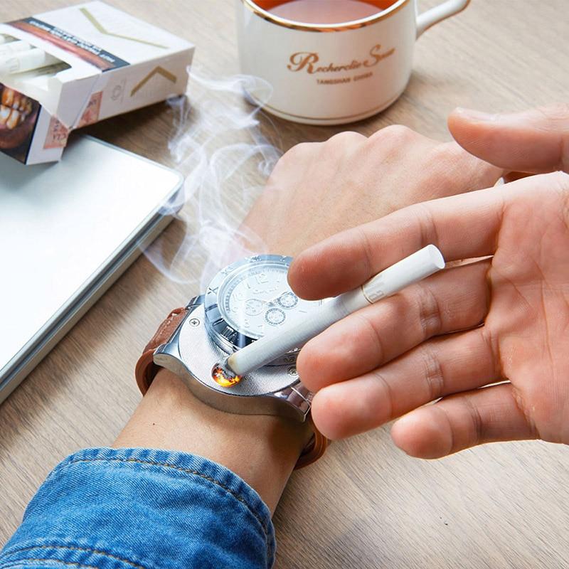 все цены на 4Pcs/Lot Watches men Casual Quartz Wrist Watch Military USB Charging Windproof Flameless Cigarette Lighter relogio saat 46