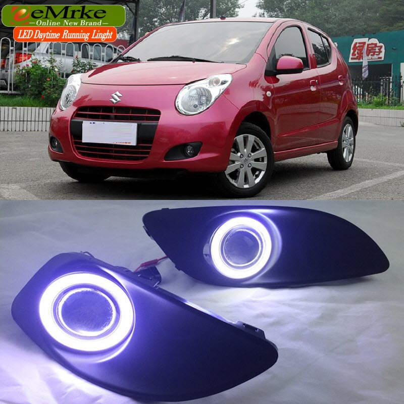 eeMrke LED Angel Eye DRL For Maruti Suzuki A-Star Alto Fog Light Daytime Running Lights Tagfahrlicht Halogen Bulbs H11 55W leadtops car led lens fog light eye refit fish fog lamp hawk eagle eye daytime running lights 12v automobile for audi ae