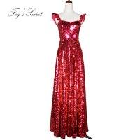 Brand Red Long Formal Dress For Women Sequins Dresses Strap Dresses For Female Slim Dresses Wedding T Stage Show