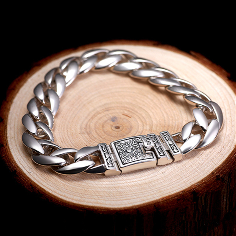 US $115 8 |56g Solid Silver 925 Thick Link Chain Mens Bracelet Vintage  Brief Design Cool 925 Sterling Silver Jewelry Men Top Quality Gifts-in  Chain &