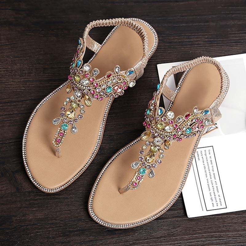 1PR Bling Rhine Stone Women Sandals T-stage Sexy Sandals Manmade Crystal Ladies Tong Flip Flops Hains Gladiator Flat Shoes