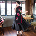 TIC-TEC 2017 women long qipao chinese traditional elegant vintage dresses black flower print oriental dresses cheongsam P3171