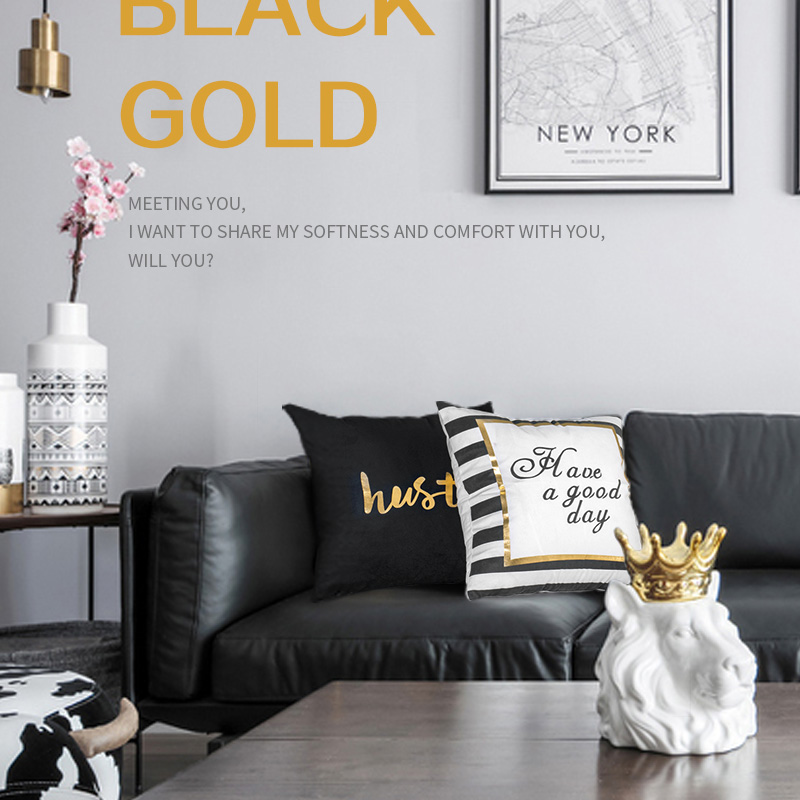 Black Brozing Golden Pillowcase Luxury And Simplicity Cushion Decorative Pillow Home Decor Sofa Throw Pillows Christmas Gift