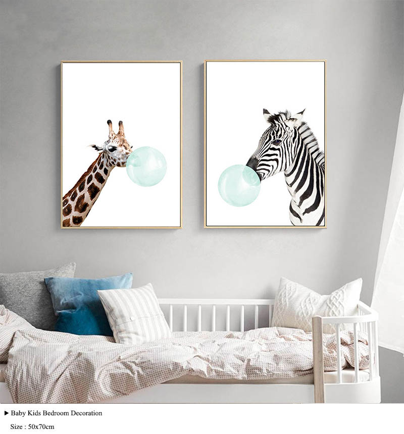 NICOLESHENTING Baby Animal Zebra Girafe Canvas Poster Nursery Wall Art Print Painting Nordic Picture Children Bedroom Decoration