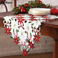 OurWarm Christmas Table Decorations Christmas Table Cloth Red Embroidery Modern Table Runners Xmas Party New Year