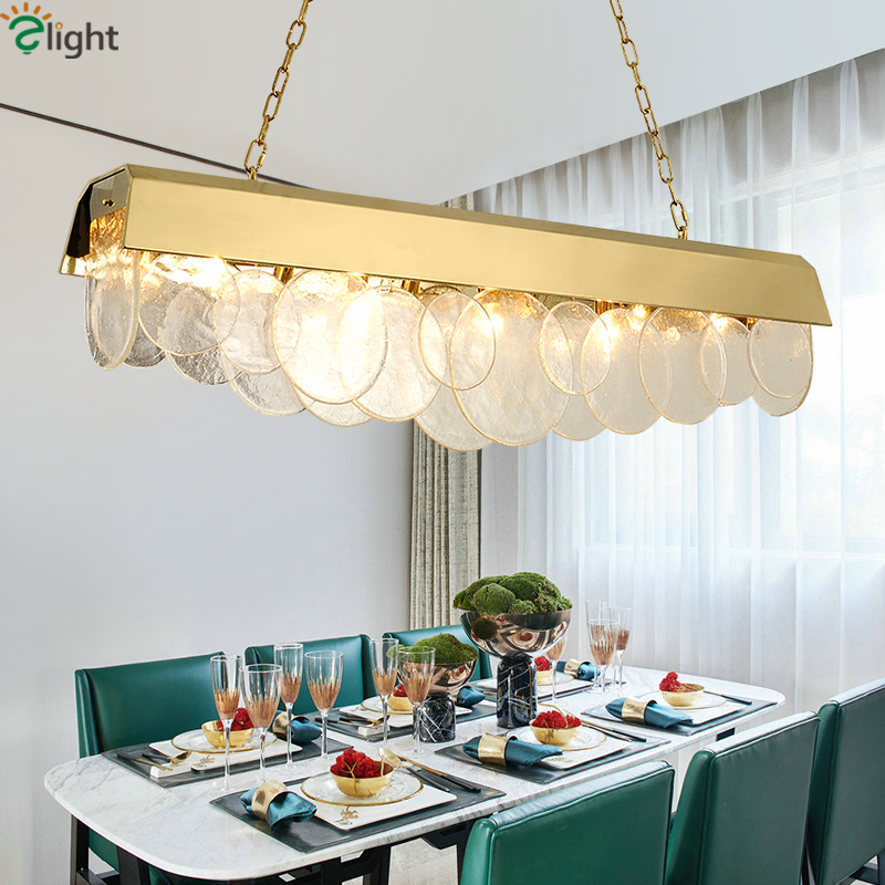 Post Modern Luxury Dining Room Deco Lamparas Straight Gold Led Pendant Lights Glass Sheet Lustre Hanging Lamp Lighting Fixtures