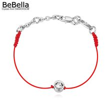 BeBella thin red cord thread string rope line bracelet with Crystals from Swarovski gold color plated chain 2018 women girl gift(China)