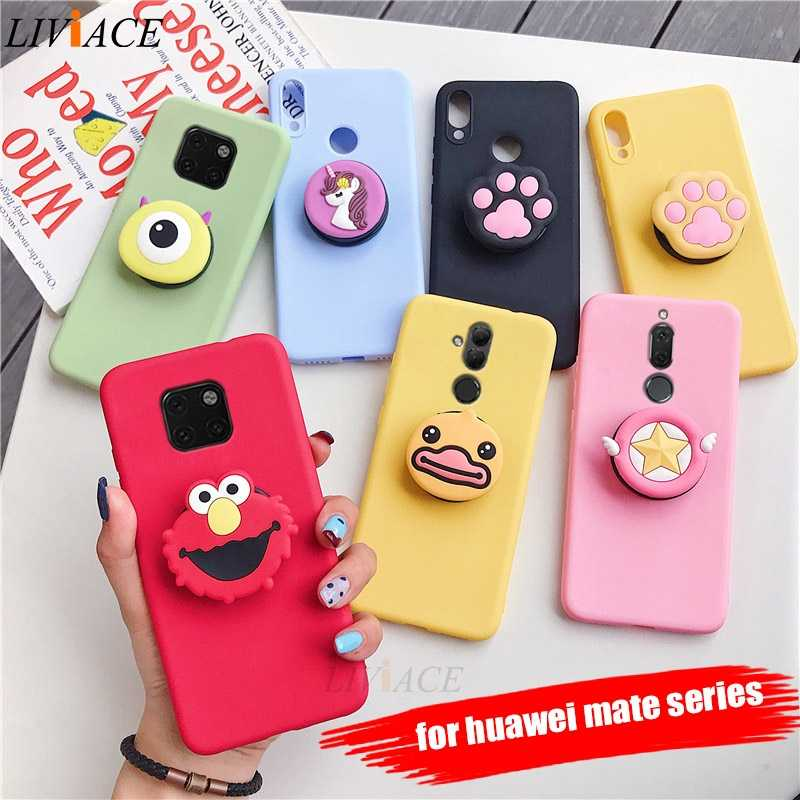 3D silicone cartoon case for huawei mate 20 pro lite X 30 cute phone holder stand covers for huawei mate 10 9 lite pro mate20