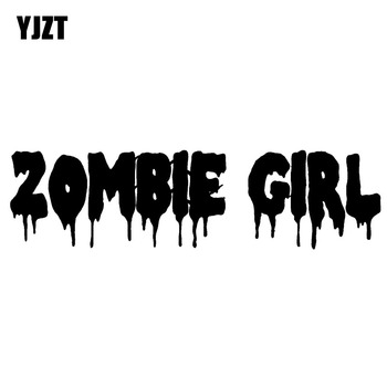 YJZT 20CMX5.3CM Funny ZOMBIE Girl Vinyl Car-styling Black/Silver Decals Motorcycle Car Stickers Accessories S8-1170 image
