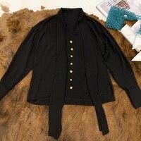 Черная шелковая блузка с длинным рукавом свободный стиль элегантный Женская шелковая блуза 2019 Новая женская шелковая Элегантная блузка