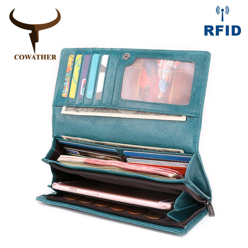COWATHER 100% High Quality Genuine Leather Women Wallet First Layer Cowhide Leather Wallets For Women 2019 New Design Good Purse