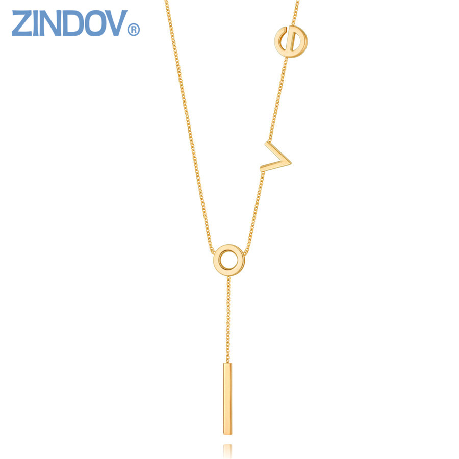 ZINDOV Stainless Steel Long Pendants Necklaces