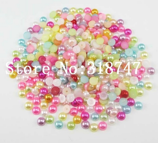 240pcs//lot 4mm Mixed Colors Half Round ABS Flatback Pearls Be Lucia Crafts 1box