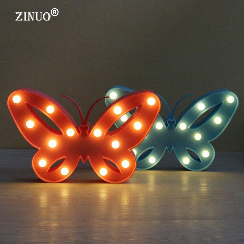 ZINUO Новинка 3D милый маленький светодиодный ночник Спальня бабочка ночника домашнего украшения Батарея батареях настенный светильник