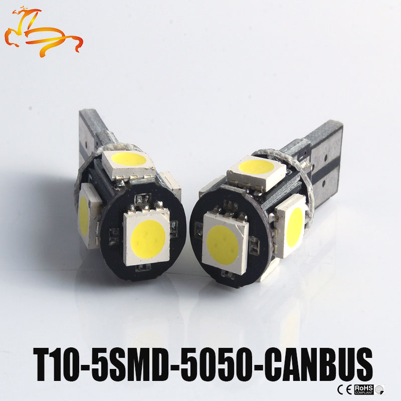 White Blue 10pcs T10 5050 5SMD 5 SMD 1W Led Car show wide door light Canbus W5w 194 Error Free DC 12V Bulbs High Quality New