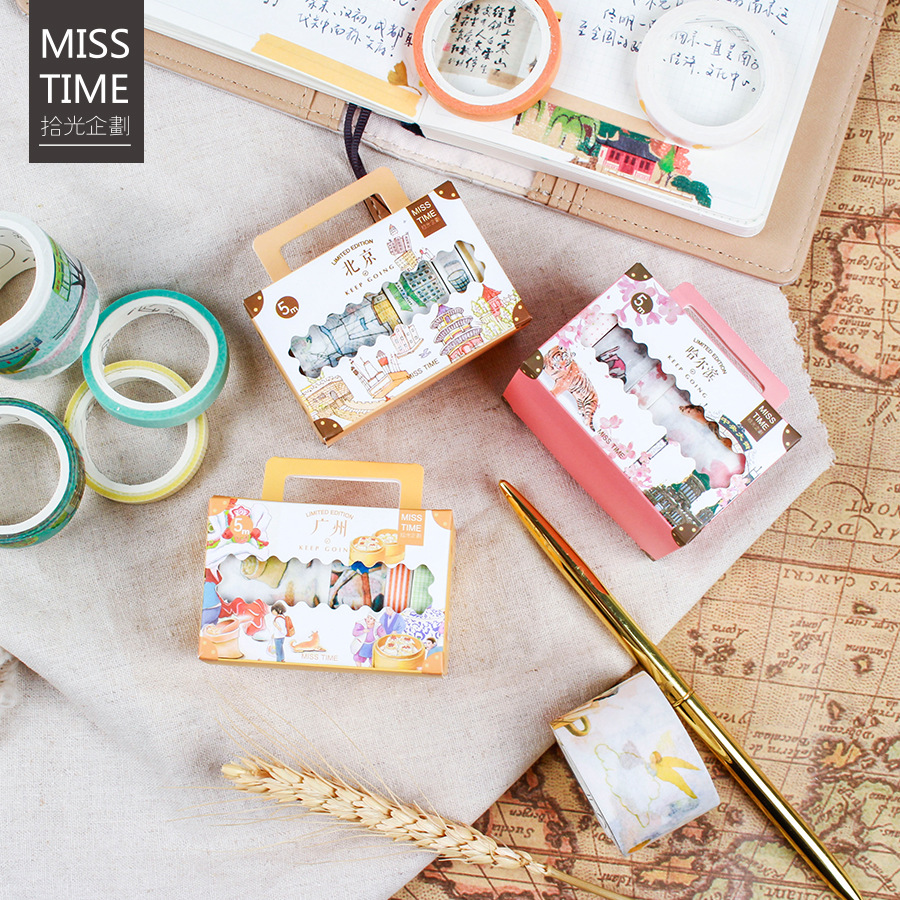 1box China City Series Washi Paper Tape Set Tourist Attractions Construction Travelers Notebook Decoration Stickers