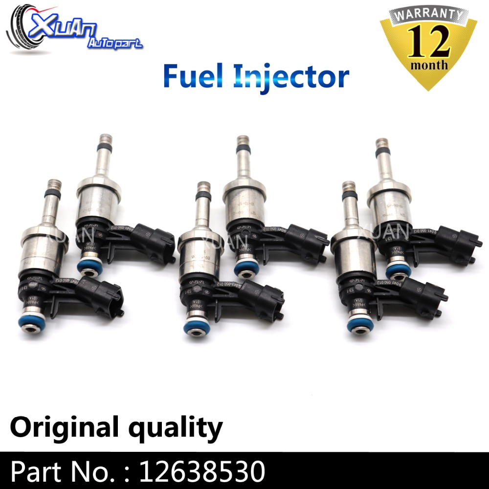 Fuel Injector Nozzle 6 Holes for 3.6 V6 Buick Enclave Lacrosse Allure Cadillac CTS STS Chevrolet Traverse Camaro GMC Acadia Saturn Outlook and Holden Pickup Estate Replaces 12638530-6pcs