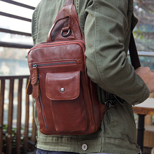 J.M.D  High Quality Cow Leather Bag Fashion And Simple Style Cross Body Bag Chest Bag For Men & Teenager 4006B