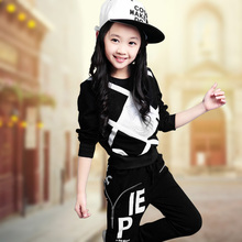 2019 Spring & Autumn Children's Clothing Set Teenage Girls Long Sleeve Rhinestone Tracksuit Female Kids Clothes Sports Suit X363 new 2017 spring autumn kids girls sports suit tiger print girls set long sleeve top