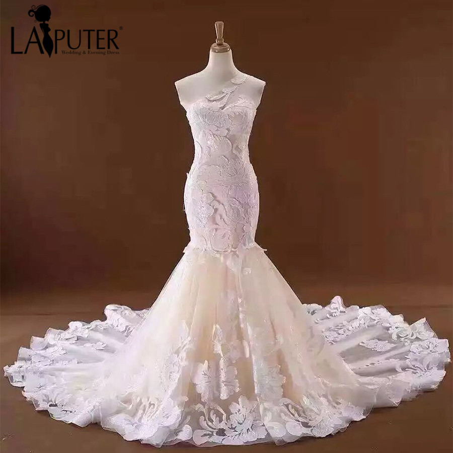 One Shoulder Lace Applique Mermaid Wedding Dresses 2017 Up Back Chapel Train Real Bride Dress Alibaba China Bridal Gowns