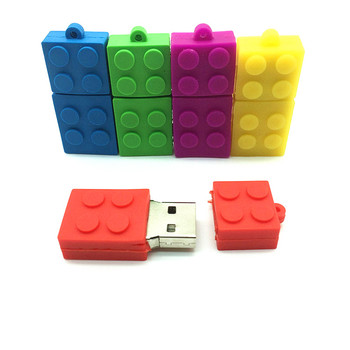 Hot Sale pendrive cartoon building blocks usb 2.0 usb flash drive silicone pen drive 4gb 8gb 16gb 32gb 64gb  USB Flash Disk