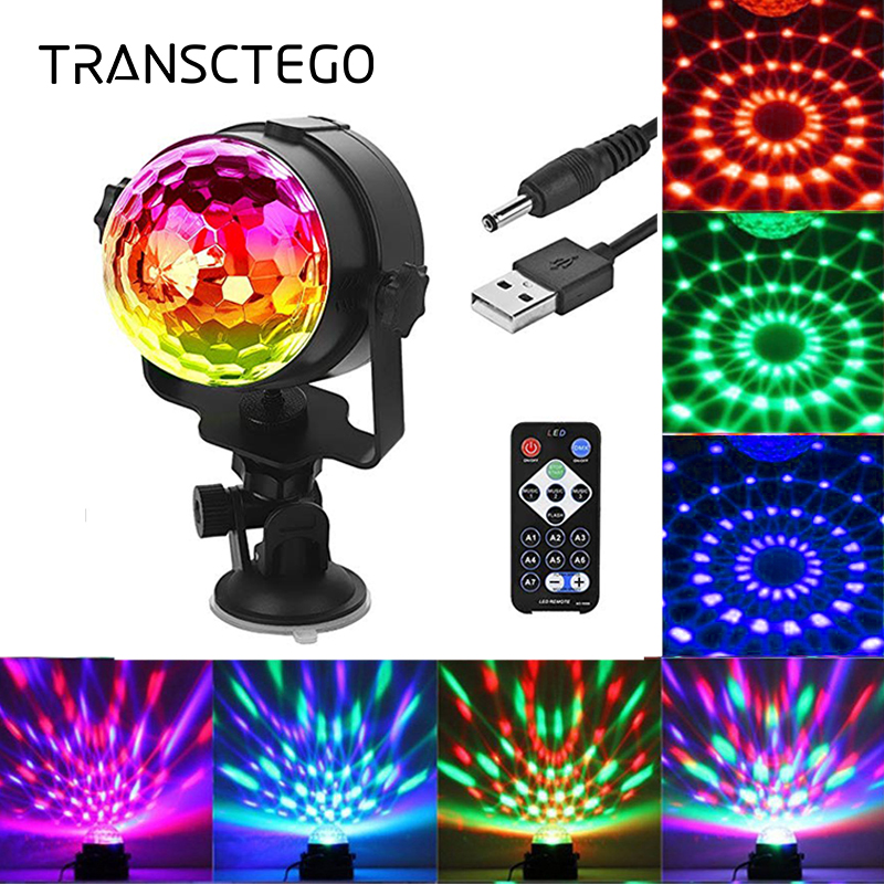 TRANSCTEGO Disco Light USB Party Laser For Car DJ Magic Ball Lydkontroll Bevegelig lampe Hodekjøretøy Disco-projektor Stage Lights