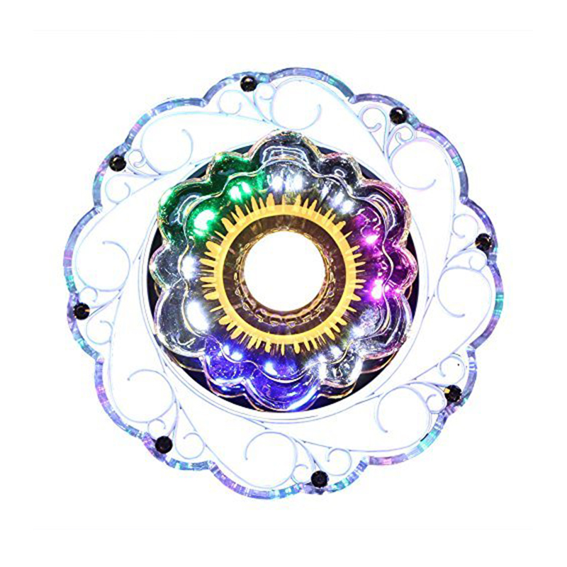 3W LED Crystal Lotus Ceiling Light Flush Lamp Main Warm Light Auxiliary Colorful Light Indoor Lighting Perfect