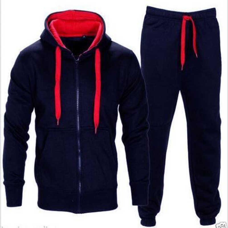 2018 neue Männer der Herbst Hoodies Jogginghose Set Männlichen Einfarbig Zipper Sweatshirt Jacken hosen Trainingsanzug Sets M-3XL