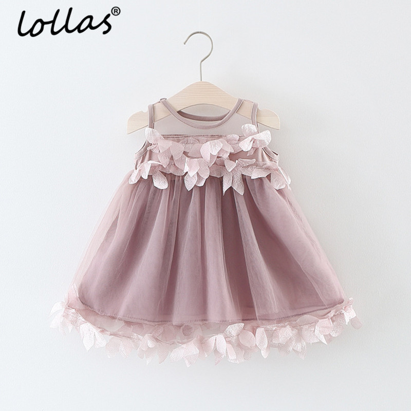 Lollas 2018 New Girls Dress Summer Mesh Girls Clothes Applique Princess Dress Children Summer Clothes Baby Girls Dress