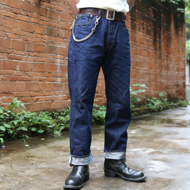 Bronson Repro 1947 modelo Vintage de los hombres de los pantalones vaqueros orillo rígido crudo azul Denim-in Pantalones vaqueros from Ropa de hombre    1