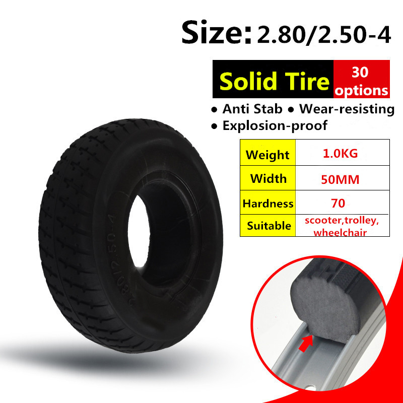 <font><b>2.80/2.50</b></font>-<font><b>4</b></font> Tire 9 Inch Electric Scooter Trolley Trailer Solid Tyre Without Inner Tube Tyre and Wheelchair Solid Tire image